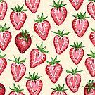 Watercolor Strawberries on Cream by Paisley Hansen