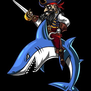 Pirate Captain Riding Shark Ocean by underheaven