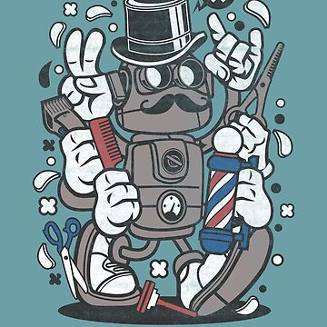 Shave, Beard Trim, Robot Barber Cartoon Shirt, Barbershop Attitude T-shirts and gifts for Barbers, Hair Dressers and Hair Stylists by manbird