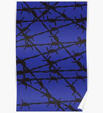 Barbed Wire [Blue] by Chillee Wilson Poster