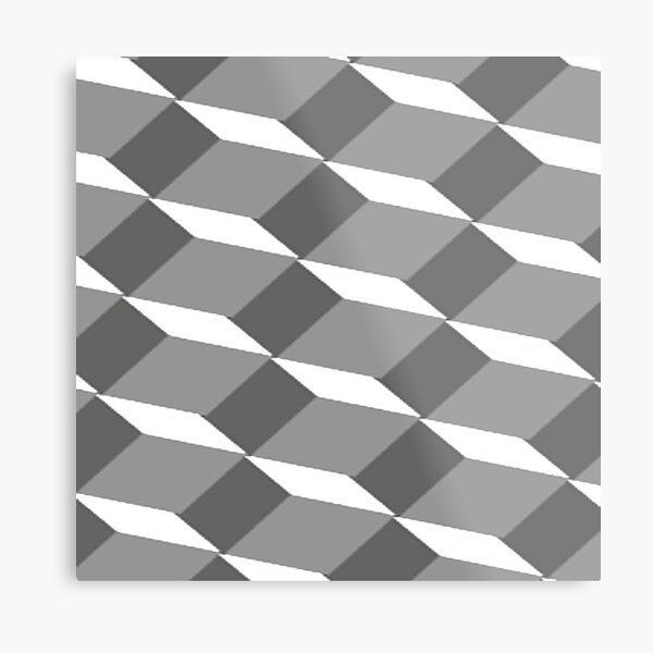 #pattern #design #square #repetition #tile #mosaic #textile #abstract #illusion #geometry #illustration #simplicity #geometricshape #seamlesspattern #nopeople #textured #backgrounds Metal Print