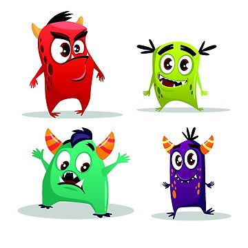 Cartoon cute monster set. Funny fantastic creatures with angry happy surprised emotions by tato69