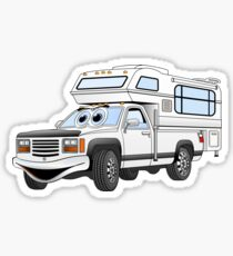 White Cartoon Pick Up Camper Sticker