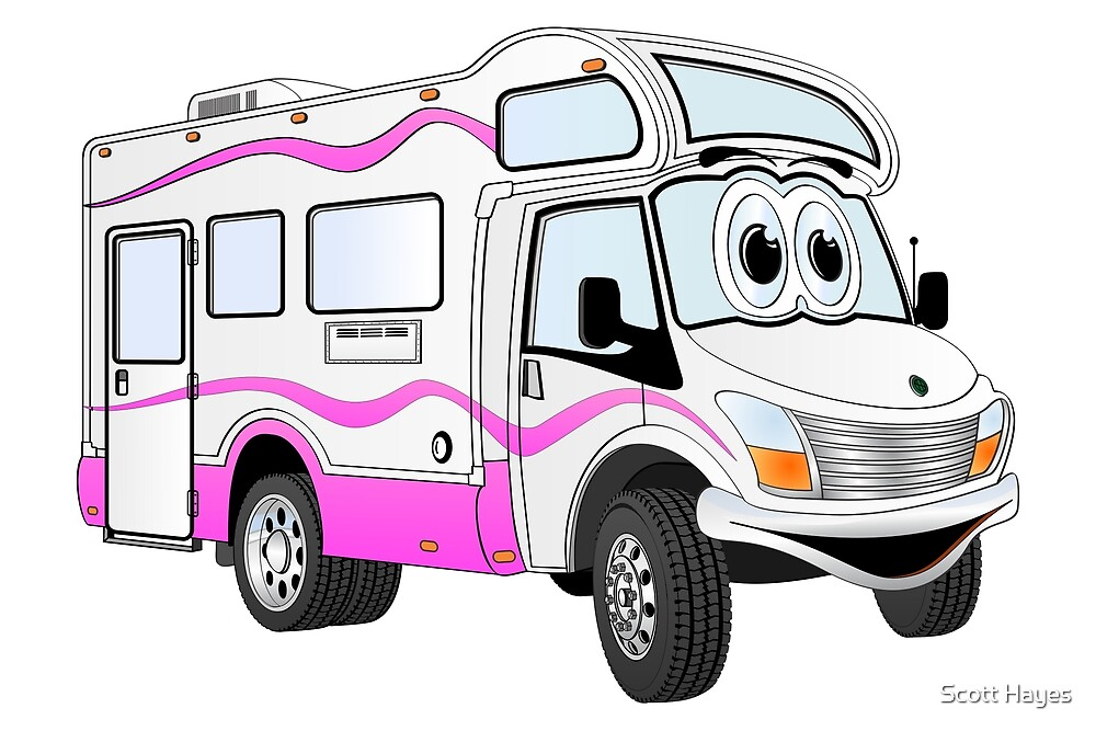 Pink Camper Cartoon by Graphxpro