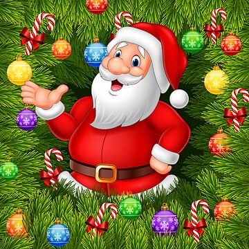 Colorful Santa and Ornaments by pugmom4