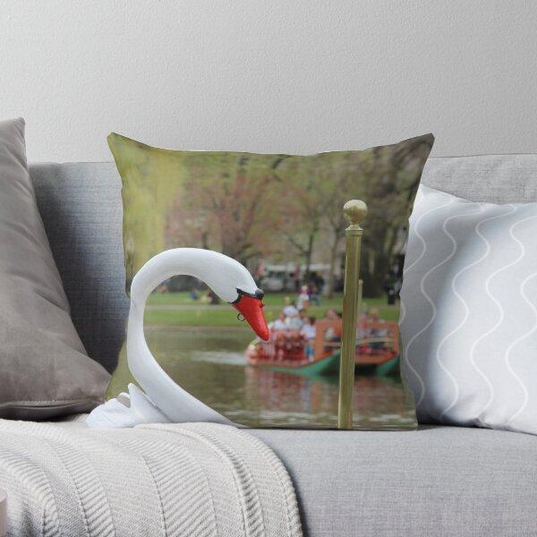 Boston Public Garden Swan Boats Throw Pillow
