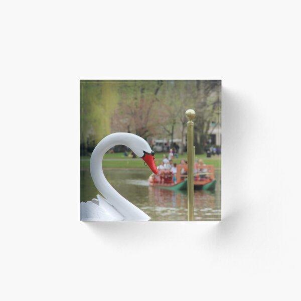 Boston Public Garden Swan Boats Acrylic Block