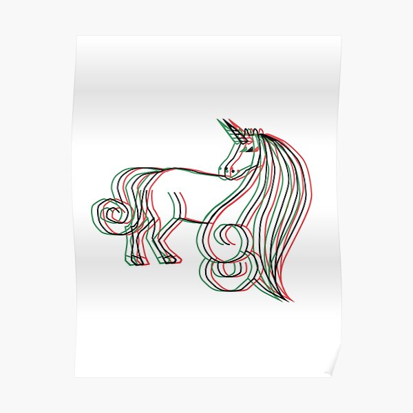 3D Unicorn Poster