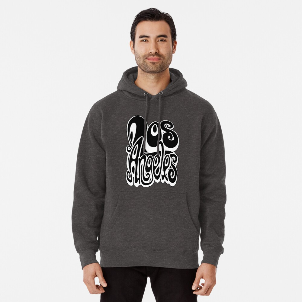 Los Angeles lettering art - black and white Pullover Hoodie