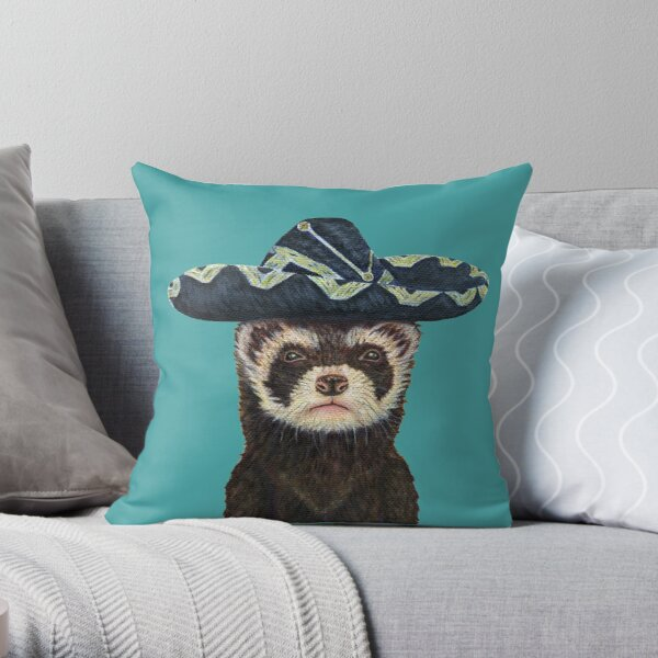 Ferret Fiesta, Blue Background Throw Pillow