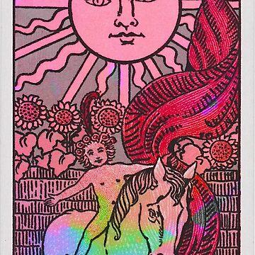 trippy sun tarot card by lolosenese