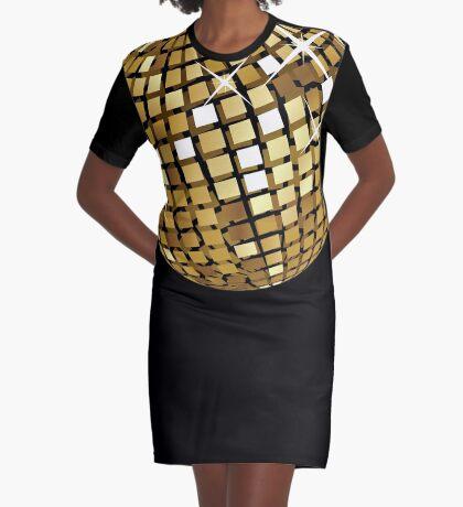Goldene Discokugelabstraktion T-Shirt Kleid