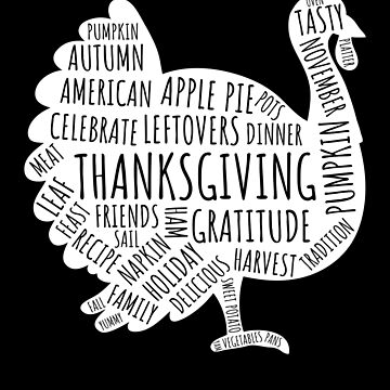 Vintage Thanksgiving Words Turkey T-Shirt Thanksgiving Shirt by davdmark
