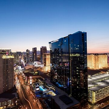 Panorama view of The Strip, Las Vegas, Nevada, USA. Hilton Grand Vacations Hotel and Casino in the centre. Night photography. by PhotoStock-Isra