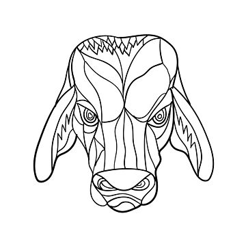 Brahma Bull Head Mosaic Black and White by patrimonio