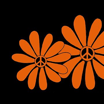 Hippie Flower Power Peace Sign Orange by Swigalicious
