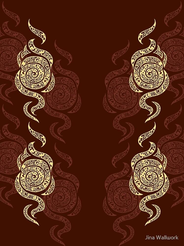 Swirl Leggings (Brown) by jinawallwork