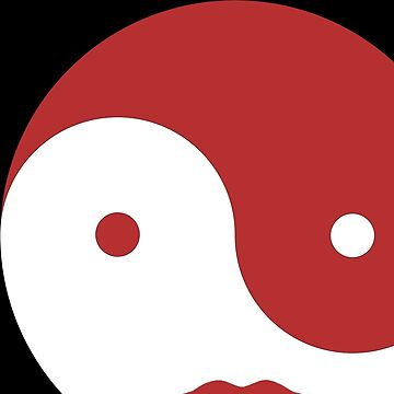 Yin Yang in red and white peace mediation design by Swigalicious