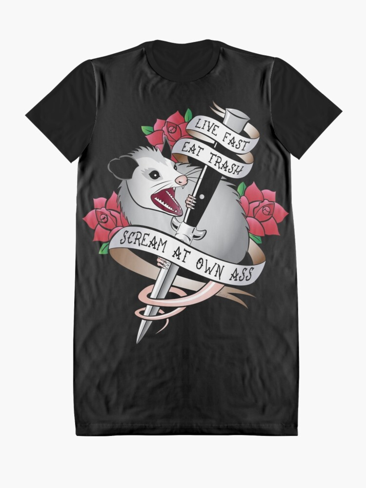 Alternate view of Opossum tattoo: Live fast, eat trash, scream at own ass. Graphic T-Shirt Dress