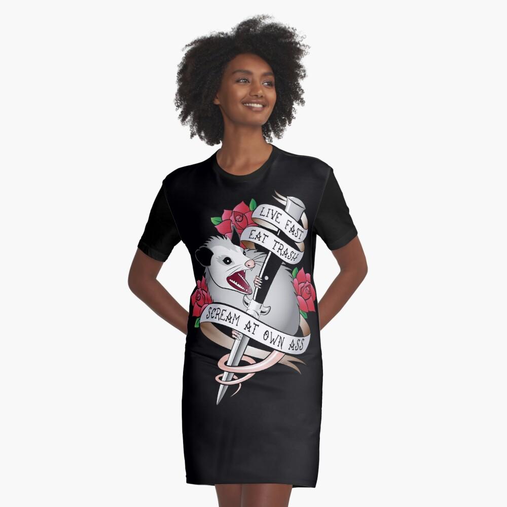 Opossum tattoo: Live fast, eat trash, scream at own ass. Graphic T-Shirt Dress