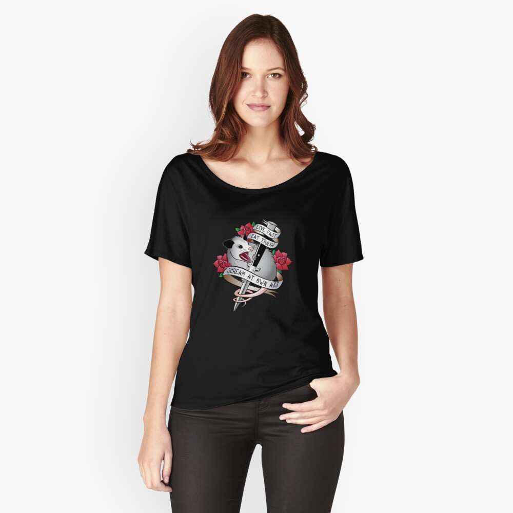 Opossum tattoo: Live fast, eat trash, scream at own ass. Relaxed Fit T-Shirt