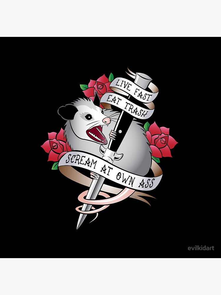 Opossum tattoo: Live fast, eat trash, scream at own ass. by evilkidart