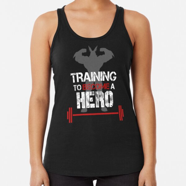 TRAINING TO BECOME A HERO Racerback Tank Top