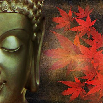 Golden Buddha With Red Maple Leaves by ImageMonkey