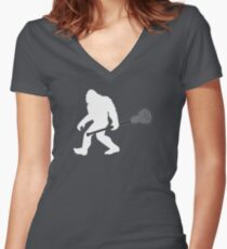 Lacrosse Bigfoot Funny Design  Women's Fitted V-Neck T-Shirt