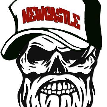 Newcastle Australia Hometown Hipster Skull Trucker Cap Death by lemmy666
