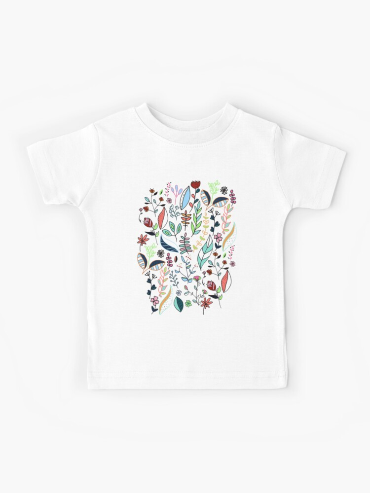 Colorful Tops Doodle Leaves Nature Womens Long-Sleeve Crewneck T-Shirt Small