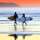 Sunset Surfers-Wilsons Prom by graeme edwards