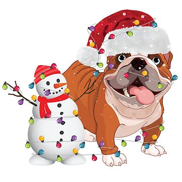 Christmas Lights Around Bulldog With Snowman T-Shirt by liuxy071195