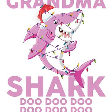 Grandma Shark Doo Doo Doo Funny Christmas Lights T-Shirt by liuxy071195