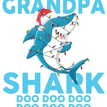 Grandpa Shark Doo Doo Doo Funny Christmas Lights T-Shirt by liuxy071195