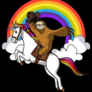 Sloth Riding Magical Unicorn Funny Magical Rainbow by underheaven