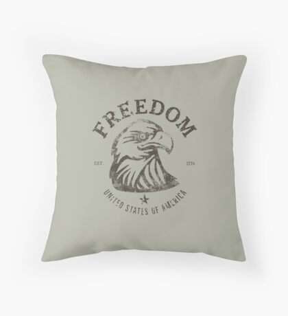 American Freedom Bald Eagle Dark Throw Pillow