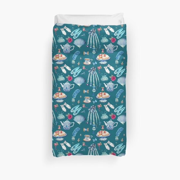 Jane Austen favourite things and daily objects in watercolor Duvet Cover