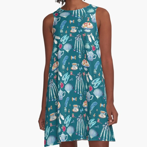 Jane Austen favourite things and daily objects in watercolor A-Line Dress