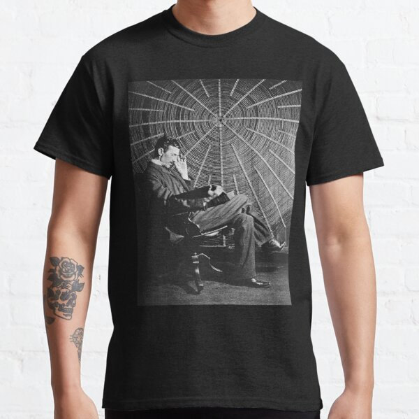 TESLA, Nicola Tesla, sitting in front of a spiral coil. Classic T-Shirt