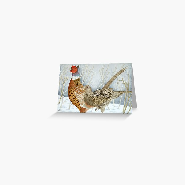 Pheasants in the snow Greeting Card