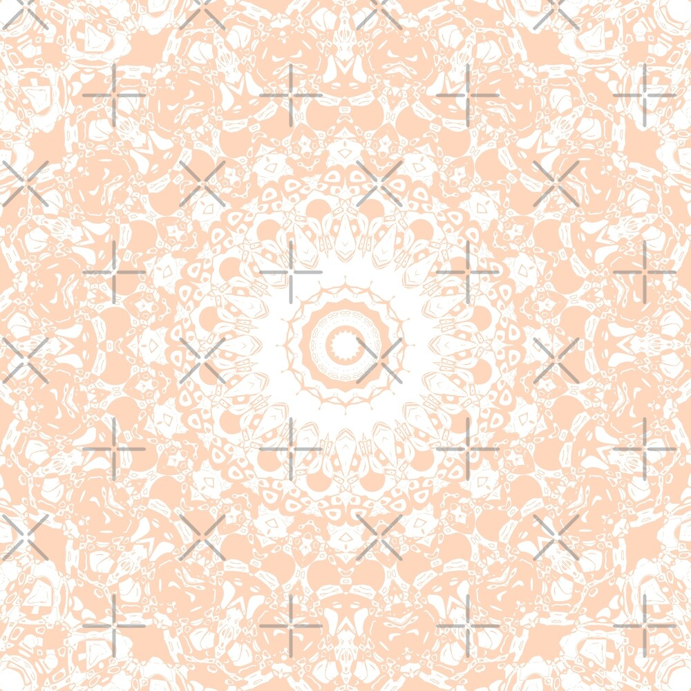 Pale Pumpkin and White Mandala by Kelly Dietrich
