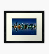 Miami Skyline at night Framed Print