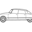 Citroen DS 23 EFI Line drawing artwork by RJWautographics