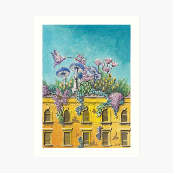 Yellow Building in Pilsen with Nature Growing on Top Art Print