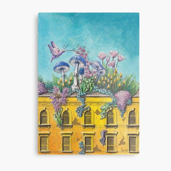Yellow Building in Pilsen with Nature Growing on Top Metal Print