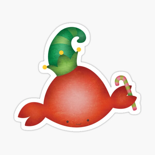 Holiday Crab Elf Sticker
