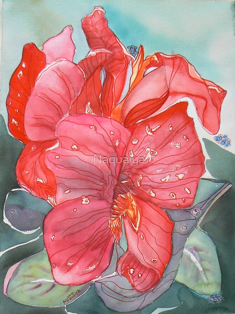 Red amaryllis flower watercolor by Naquaiya