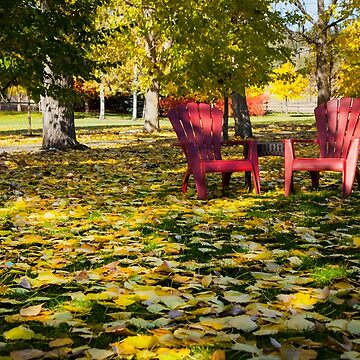 RED CHAIRS IN AUTUMN  by TheresaTahara