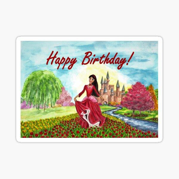 Princess Birthday Card Sticker